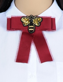 Trendy Claret Red Bee Shape Decorated Bowknot Brooch