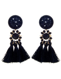 Fashion Navy Round Shape Design Tassel Earrings