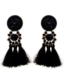Fashion Black Round Shape Design Tassel Earrings