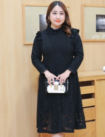 Fashion Black Pure Color Decorated Thicken Dress