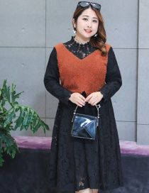 Fashion Brown Wave Shape Design Hollow Out Thicken Dress
