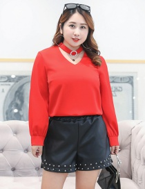 Fashion Black Rivet Pattern Decorated Pure Color Skirt