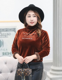 Fashion Brown+gold Color Letter Pattern Decorated Large Shirt