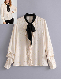Trendy Beige Dots Pattern Decorated Bowknot Design Blouse