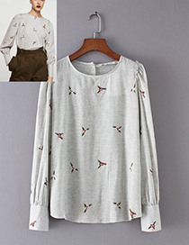 Trendy Gray Flower Pattern Decorated Simple Shirt