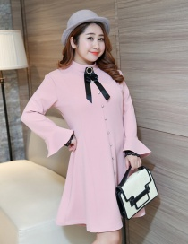 Trendy Pink Bowknot Decorated Long Sleeves Dress