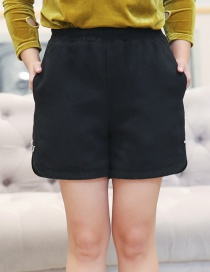 Trendy Black Pure Color Decorated Large Shorts