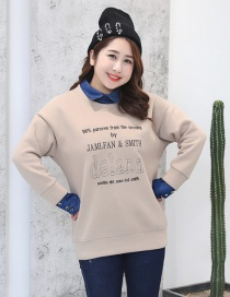Trendy Khaki Letter Pattern Decorated Thicken Blouse