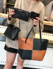 Fashion Light Brown+black Color Matching Decorated Handbag(4pcs)