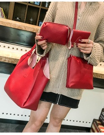 Fashion Red Pure Color Decorated Shoulder Bag (4pcs)