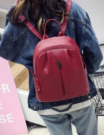 Fashion Red Pure Color Decorated Simple Backpack
