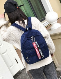 Fashion Dark Blue Ribbons Decorated Simple Backpack