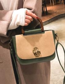 Fashion Green Buckle Decorated Square Shape Handbag