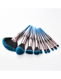 Fashion Blue Color-matching Decorated Brushes (10pcs)