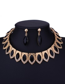 Fashion Black Oval Shape Decorated Jewelry Set