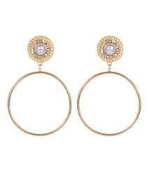 Fashion Gold Color Pearl&circular Ring Decorated Pure Color Earrings