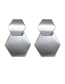 Fashion Silver Color Hexagon Shape Design Pure Color Earrings