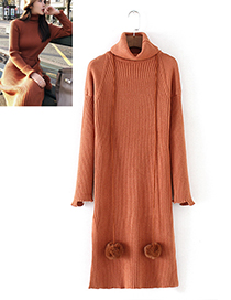 Fashion Brown Pure Color Decorated High-neckline Dress