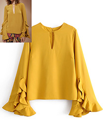 Fashion Yellow Pure Color Decorated Flare Sleeves Blouse