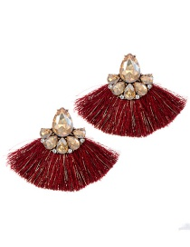 Fashion Champagne+red Diamond Decorated Tassel Earrings