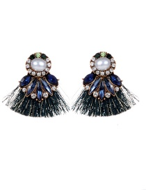 Fashion Blue+dark Green Pearls&diamond Decorated Tassel Earrings