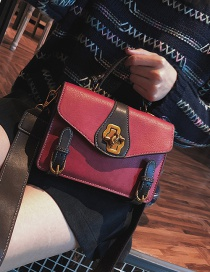 Fashion Red Square Shape Design Pure Color Shoulder Bag
