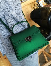 Fashion Green Pure Color Decorated Bag (large Size )