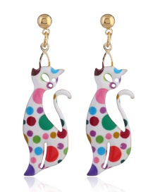 Lovely White Hollow Out Cat Shape Decorated Earrings