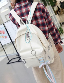 Fashion White Chain&bowknot Shape Decorated Backpack