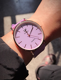 Fashion Purple Pure Color Decorated Watch