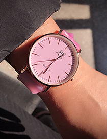 Fashion Pink Pure Color Decorated Watch