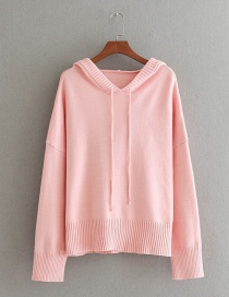 Fashion Pink Pure Color Decorated Hoodie