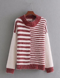 Fashion Red Round Shape Decorated Sweater