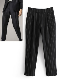 Elegant Black Color-matching Decorated Trousers