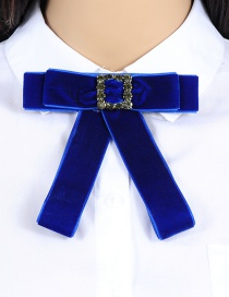 Elegant Sapphire Blue Square Shape Decorated Bowknot Brooch