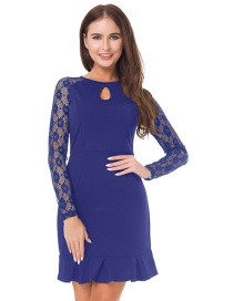 Elegant Blue Lace Decorated Dress