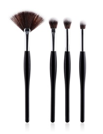 Fashion Black Sector Shape Decorated Makeup Brush (4 Pcs )