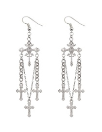 Vintage Silver Color Cross Shape Decorated Earrings