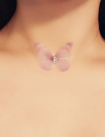 Fashion Pink Butterfly Shape Decorated Choker