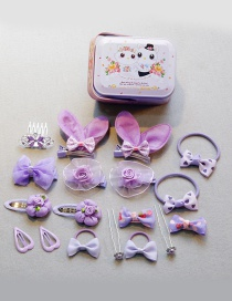 Fashion Purple Flower&bowknot Shape Decorated Hair Band With Box (18 Pcs )