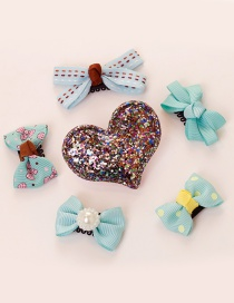 Lovely Blue Heart Shape Decorated Bowknot Hair Clip(6pcs)