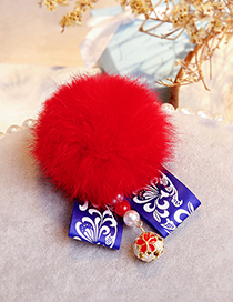 Fashion Red Fuzzy Ball Decorated Pom Hair Clip