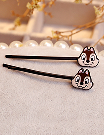 Lovely Light Brown Cartoon Squirrel Decorated Hair Clip(1pair)