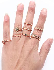 Fashion Gold Color Heart Shape Design Ring Sets(11pcs)