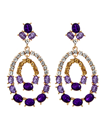 Elegant Purple Hollow Out Decorated Earrings