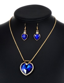 Lovely Sapphire Blue Heart Shape Decorated Jewelry Sets
