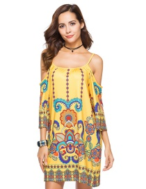 Bohemia Yellow Off-the-shoulder Decorated Dress
