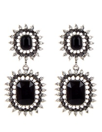 Elegant Black Square Shape Decorated Earrings