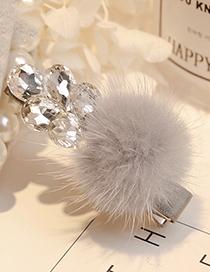 Fashion Gray Ball Shape Decorated Hair Clip