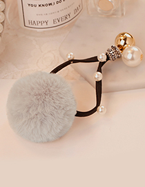Fashion Beige Ball Shape Decorated Pom Hair Band